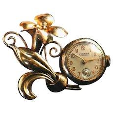 Vintage Carl Art Vintage 12kt GF Working Lapel Watch Pin, Book Piece