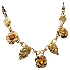 12k Gold Filled c.1940 Vintage Articulated Floral Motif Retro Modern Vintage Choker Necklace