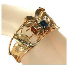 12kt Gold Filled Barclay Retro Modern c.1940 Vintage Cuff Bracelet