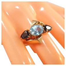 14K Three Stone Blue Topaz & Blue Sapphire Modernistic Bypass Ring, Size 9