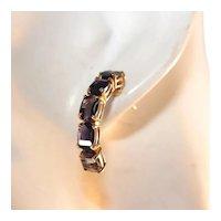 14K Yellow Gold Iolite Demi Hoop Pierced Earrings, Large Stones