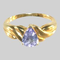 14K Iolite Gemstone Pear Cut Solitaire Ring, Size 8 1/2, Marked & Signed