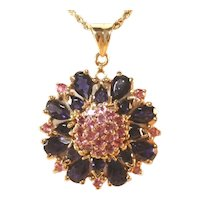 14K Iolite & Pink Tourmaline Large Gemstone Pendant, Marked, Stunning Color