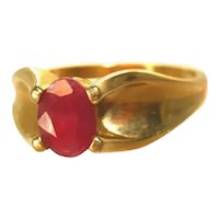 14K Yellow Gold & Burmese Ruby Solitaire Classic Unisex Ring, Size 8