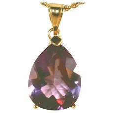 14k Yellow Gold Vintage Large Modernistic Amethyst Pendant