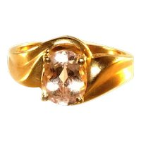 14K Peach Morganite Oval Cut Large Gemstone Solitaire Ring, Size 8