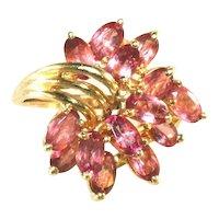14K Pink Tourmaline Gemstone Cluster Ring, Signed, Size 8 1/2