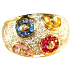 14k Colored Sapphire & Ruby Wheels, Accent Diamonds Cigar Band Style LEVIAN Vintage Ring, Size 8