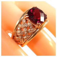 14k Yellow Gold Vintage Garnet & Diamond Basket Weave Ring, Size 8, Over 11 Grams, Size 8