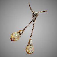14k Antique White Gold Art Nouveau Double Floating Opal Negligee Style Necklace
