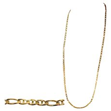 "14K Yellow Gold Large Mariner Figaro Flat Link 28"" Unisex Neck Chain, Necklace, 26 Grams of Gold!"