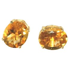 14k Yellow Gold Vintage Large Several Carats Golden Citrine Stud Pierced Earrings