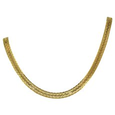 "14k Italian Gold Vintage Flat Bismark Link Woven Necklace, 1/4"" Wide, Reversible, 18 Inches, 17 Grams"