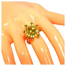 Art Deco Style 14k Yellow Gold Peridot Flower Cluster Ring, Size 7 ½, (9) Nine Large Stones, Size 7 ½