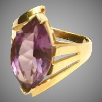 14k Yellow Gold Large Amethyst Gemstone Vintage Bypass Ring, Size 8