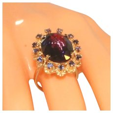 14k Yellow Gold Antique Art Deco Large Color Change Stone, Synthetic Corundum Created Alexandrite Ring, Size 5 ½, Incl Recent Appraisal