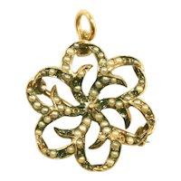 Antique Victorian Seed Pearl 14K Yellow Gold Spiraling Starburst Pin, Pendant