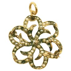 Antique Victorian Seed Pearl 14K Yellow Gold Spiraling Starburst Pin, Pendant