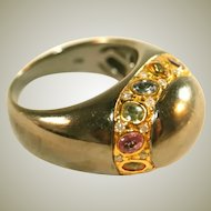 14k Rare Vintage Black Gold & Colored Sapphires Unisex Ring, Size 9, Over 11 Grams!