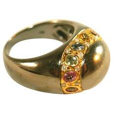 14k Rare Vintage Black Gold & Colored Sapphires Unisex Ring, Size 9, Over 11 Grams!