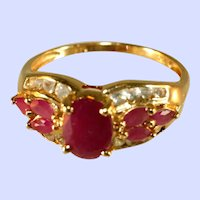 14K Yellow Gold Burmese Rubies & White Topaz Accent Gemstones Ring, Size 9 1/2