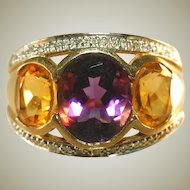 14k Heavy Yellow Gold Vintage Citrine & Amethyst Large Unisex Gemstone Ring, Diamond Borders, Size 8