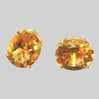 14k Yellow Gold Vintage Large Several Carats Golden Citrine Stud Pierced , reserved for PayneEarrings