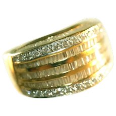 14k Yellow Gold & Baguette + Round Diamonds in White Gold Spectacular Wide Unisex Ring, Size 9, 8.5 Grams