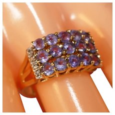 14k Yellow Gold Tanzanite & Diamond Accent Wide Band Ring, Size 8