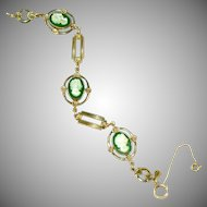 AMCO Signed 14k Gold Filled Carved Mother of Pearl & Green Onyx or Agate Cameo Bracelet