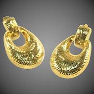 14k Gold Vintage Door Knocker Earrings, Diamond Cut Design
