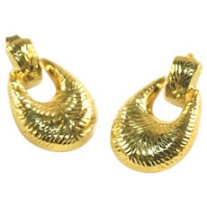 14k Gold Vintage Door Knocker Earrings, Diamond Cut Design