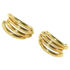 Vintage 14k Gold Multi-Hoop Pierced Earrings, Modern Sleek Look, Posts