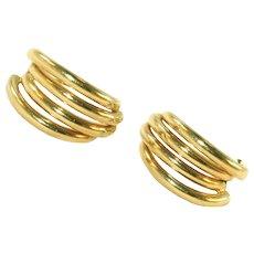 Vintage 14k Gold Multi-Hoop Pierced Earrings, Modern Sleek Look, Posts