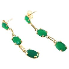 "14k Green Onyx Vintage Pierced Pendant Drop Earrings, 1 ½"" Long, Open Back Stones"