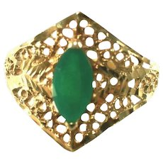 14k Gold & Green Onyx Open Lace Filigree Cigar Band Vintage Ring, Size 9 1/2