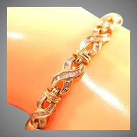 14k Diamond Baguette Tennis Bracelet, Marked 14k, Safety, X Link Hugs & Kisses, 10 grams
