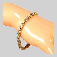 14k Diamond Baguette Tennis Bracelet, Marked 14k, Safety, X Link Hugs & Kisses, 10 grams