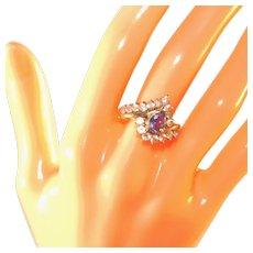 14K Yellow Gold Rare Pear Cut Iolite & White Topaz Gemstone Ring, Size 9