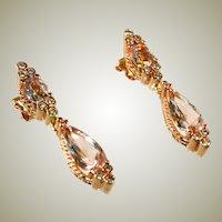 14k Rose Gold & Kunzite Drop Earrings, Two Stones in Each Earring