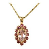 14k Yellow Gold Large Kunzite Lavender Pink Gemstone Pendant Framed in Deep Pink Stones