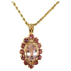 14k Yellow Gold Large Kunzite Lavender Pink Gemstone Pendant Framed in Deep Pink Stones