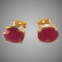 14K Yellow Gold Large Several Carats Oval Burmese Ruby Pierced Stud Earrings