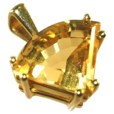 "14K Yellow Gold Large, Over ½"", Vintage Trillion Cut Citrine Pendant"