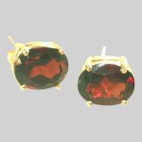 14k Yellow Gold Larg Deep Red Garnet Stud Earrings, Pierced, reserverd for Payne