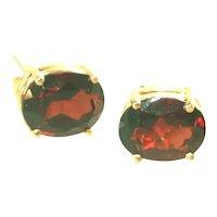 14k Yellow Gold Large Deep Red Garnet Stud Earrings, Pierced