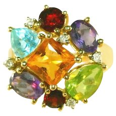 "14k Large Vintage Gemstone Head (¾"" Diameter) Cocktail Ring, Blue Topaz, Citrine, Garnet, Amethyst, Peridot Ring, Size 8"