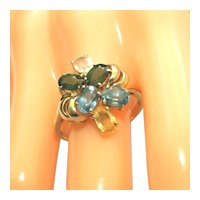 14k Sapphires Cocktail Ring, Multi-Colored, Size 9 ½