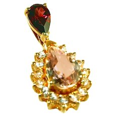 14k Yellow Gold Large Pink Morganite & Gemstone Garnet Pear Shaped Stones Pendant