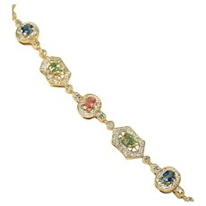 14k Gold, Sapphires in Colors, Diamond Accents Tennis Bracelet